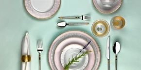 SCHAFER. A properly serviced table with porcelain from MEGA collection and GOLD dishware